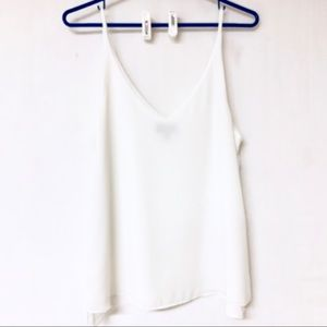 TOPSHOP White Double Sheer Cami Blouse Size 6